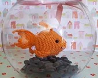 Handmade Amigurumi Fantail Goldfish in Fish Bowl