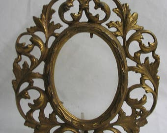 Vintage Victorian Style Gold Tone Iron Filigree Fancy Oval Frame Marked 1 Goth Gothic Interest