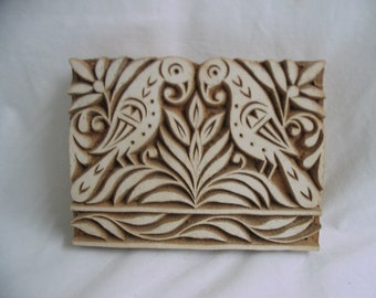 Hand Carved India Wood Textile  Stamp Fabric Printing Block  2 Birds Could Be Hung