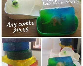 Handmade Soaps with 3d Printed Soap Dish Included !