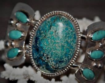Aqua Terra Jasper and Kingman Turquoise Sterling Silver Cuff Bracelet by Susan