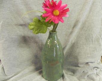 studio pottery vase green bottle budvase ceramic pottery