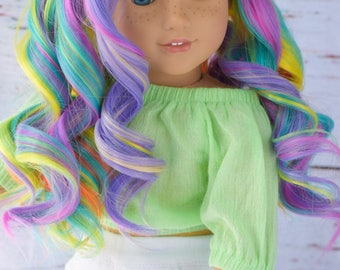 "Custom Doll Wig for ALL 18"" American Girl Doll GOTZ - Heat Safe - Tangle Resistant - fits 10-11"" head circumference Rainbow"