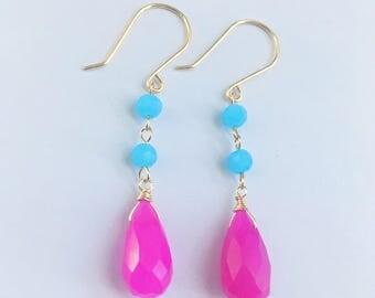 Teardrop Dangle Earrings, Hot Pink Teardrop Earrings