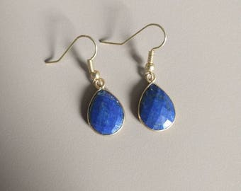 Lapiz Lazuli Drop earrings, Crystal jewelry, Gift for her