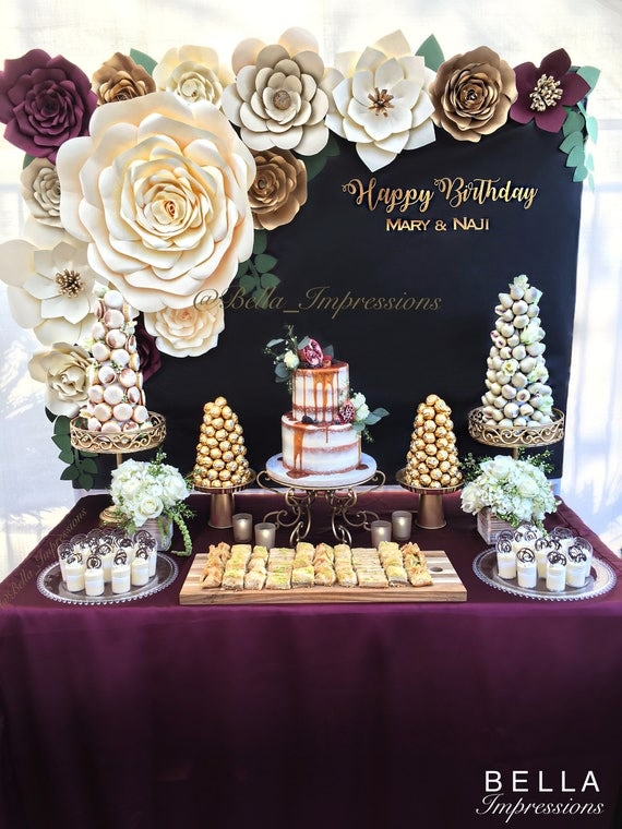 Paper Flowers Backdrop Roses Party Decor Dessert Table