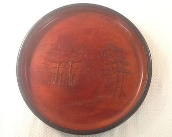 Teakwood Tray w/Intricate Carvings of Japanese/Asian Scene. Unique.