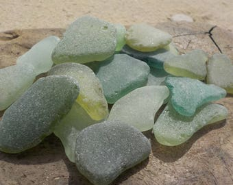 "20 pcs Light Green shades Genuine Sea glass Bulk- Light blue green-Light yellow green-Size 1-1.4""-Craft quality-Mosaic Art-Home Decor#91B#"