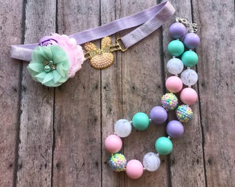 Bunny easter headband and necklace set - pearls bunny headband - chunky easter necklace - Easter necklace - pastel easter girl necklace