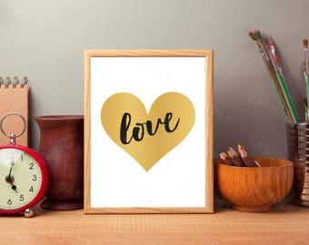 Gold Foil Love Heart,Love Printable, Home Decor Wall Art, Love Sign, Love Printable, Love Gift, Valentines Gift, Print