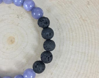 Essential Oil Diffuser Bracelet | Aquamarine Dyed Natural Quartz | Natural Stone |Gift for Her | Zen Bracelet | Lava Jewelry | Yoga