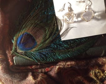 Wire wrapped faux diamond earrings