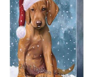 Let it Snow Christmas Holiday Vizsla Dog Wearing Santa Hat Canvas Wall Art