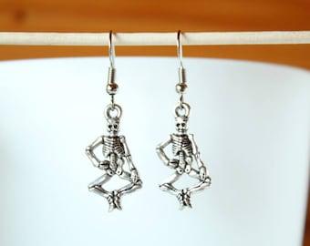Skeleton halloween Silver earrings
