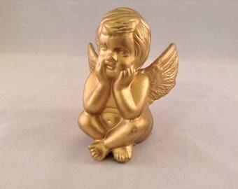 Gold Cherub Angel Vintage Figurine