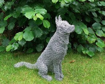 Handmade German shepherd chicken wire sculpture