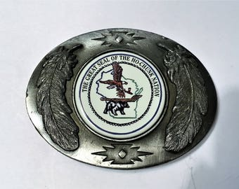 Ho-Chunk Nation Belt Buckle, Artistic Impressions Belt Buckle, Julie Zsupnik Belt Buckle, Made in USA, Men's Accessories, Wisconsin Buckle