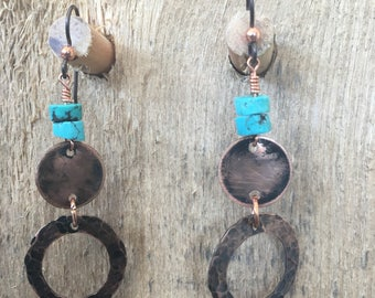 Copper and turquoise dangles