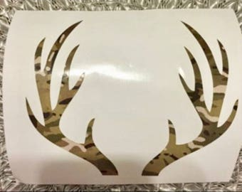 Camo Deer Antlers Decal Sticker