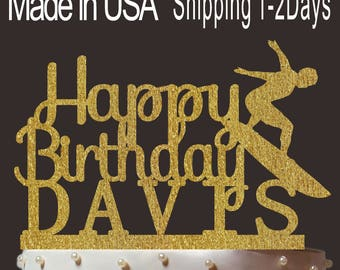Any Name, Personalized Happy Birthday Cake Topper, Custom Surfer Cake Topper, Cardstock Birthday Topper, Create Your Own! Custom Name, PT004