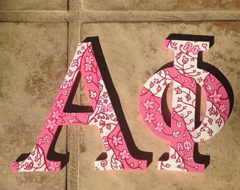 20% OFF!! Alpha Phi Lilly Pulitzer Greek Sorority Wooden Hand-Painted Letters