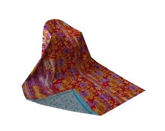 Vintage Kantha Throw Reversible Printed Cotton Quilt