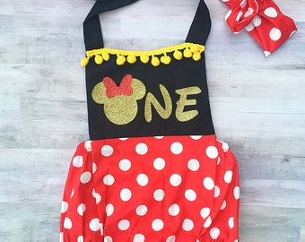 Minnie Mouse 1st Birthday Romper / First Birthday Minnie Mouse Outfit /Minnie Mouse Ears / Red Minnie Mouse / Baby Girl Minnie Mouse Costume