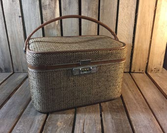 Vintage Makeup Suitcase, Amaelia Earheart Luggage/Small Tweed Suitcase/Tweed Suitcase/Small Travel Tote