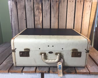 Large Vintage Navy and Antique White Maximillion Suitcase, Vintage Luggage, Vintage Suitcases