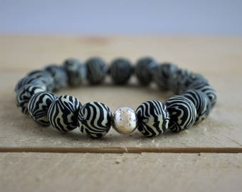Clay Bead Stretch Bracelet Zebra
