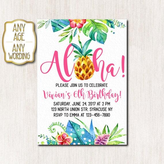 Aloha Birthday Invitation Hawaiian Birthday Invitation Luau