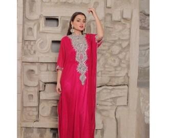 10% OFF Farasha Caftan, stones Embellished Kaftan, Moroccan Fancy Kaftan Maxi Dress, Dubai Kaftan, Beaded Evening Gown, Plus Size, abaya Max