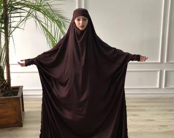 Plus size chocolate silk khimar , muslim jilbab dress, elegant Burqa, Wedding Abaya, traditional hijab, Elegant hijab, Long burqa