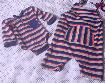 Photographers Prop,Sitter 9-12 month,Carson  Beige,Navy,Orange,Striped,Baby Boy Romper,Newborn long sleeved romper /Bodysuit,Up Cycled,RTS,