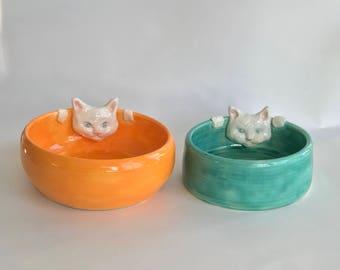Pet Bowls Handmade Orange and Green