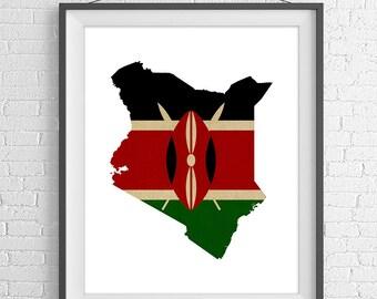 Kenya Flag Map Print, Kenyan Flag Poster, Kenya Map, Kenya Silhouette, Kenya Wall Art, Map of Kenya Print, African Gifts, Kenya Art