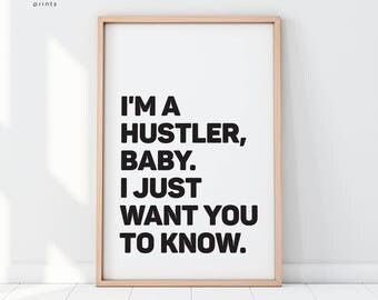 Jay z poster etsy im a hustler baby printed art quote print jay z poster malvernweather Choice Image