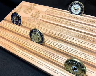 Navy Chief's Creed Military Challenge Coin Display Holder - Chief Petty Officer - CPO - customizable - personalized