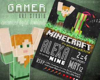 Minecraft Birthday Invitation | Printable Creeper Minecraft Girl's Party Invitation | Chalkboard style customizable with your child's SKIN