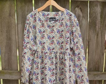 Vintage Floral Long Sleeve Babydoll Top