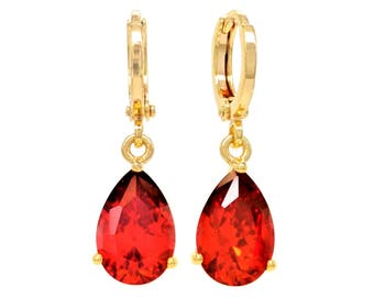 Red gold earrings, Genuine gold plated, Fire red raindrop gemstones, Red, Clear red drop earring, Real gold, Red earrings, Black gift box