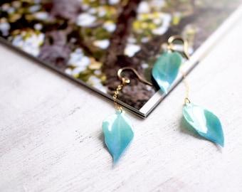 Green Leaf 14K Gold Filled Asymmetrical Earrings [Pierced or Clip-on]