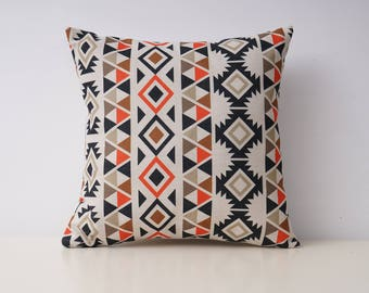 Aztec decorative pillow cover Ethnic throw pillow covers Tribal pillow cases Navajo pillow case Geometric cushion case Sofa home decor 18x18