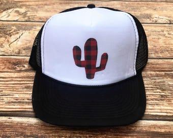 Buffalo plaid Cactus trucker hat, cactus hat, black and red checkered, buffalo plaid, black and red plaid, trucker hat, mama hat