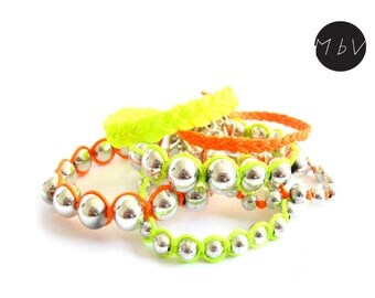 Fashion Jewelry Modern Neon Yellow and Neon Orange Summer Set of Beaded and Braided Bracelets with Wax Cotton and Plastic Beads