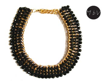 Fashion Jewelry Modern Black Chrochet Necklace With Metal Chain, Cotton and Plastic Beads