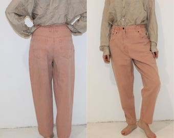 Vintage 90s High Waisted Jeans Light Pink Dusty W30 L27 High Rise Waist Tapered Leg Mom Jeans Light Peg Leg Boyfriend Jeans Loose Fit Large