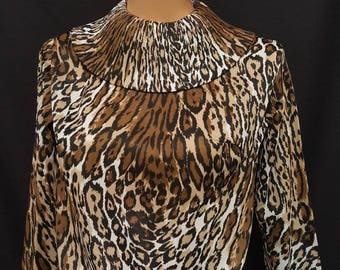 Vintage Late 50s - Early 60s Amazing LEOPARD Print Nylon Blouse Shirt with Accordion Collar Styled by SYBIL Made in USA S