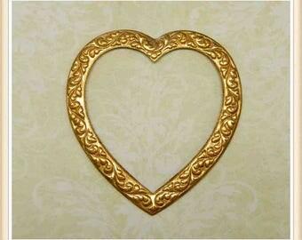 1 pc raw brass heart victorian vintage ornate charm valentine #2033