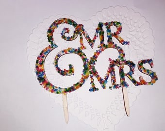 Mr and Mrs- Sprinkles Wedding Cake Topper